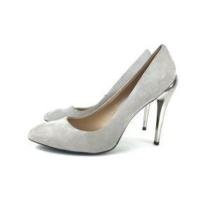 Zara Gray Round Toe Pumps with Silver Heel